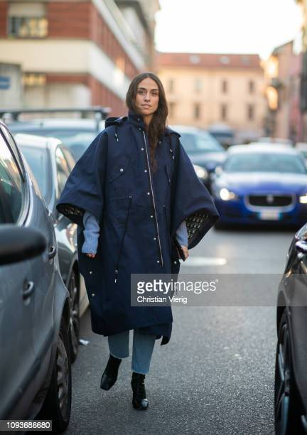 Erika Boldrin is seen wearing navy coat outside Marni during Milan Menswear Fashion Week Autumn/Winter 2019/20 on January 12 2019 in Milan Italy