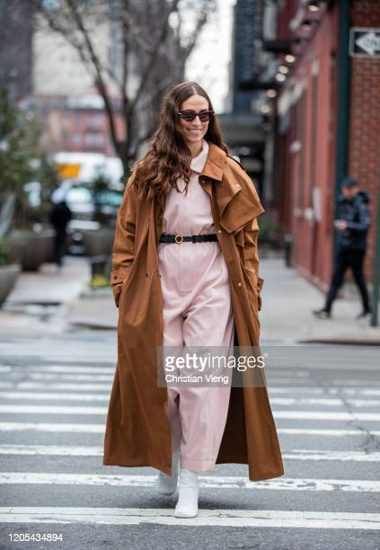 Erika Boldrin is seen wearing pink overall, brown coat outside Zimmermann during New York Fashion Week Fall / Winter on February 10, 2020 in New York...