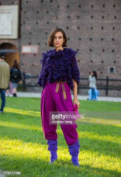Erika Boldrin is seen wearing purple top, pink pants and bag outside Alberta Ferretti during the Milan Women's Fashion Week on September 23, 2020 in...