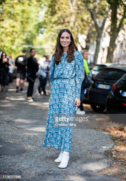 Erika Boldrin seen wearing blue dress with print outside the Marni show during Milan Fashion Week Spring/Summer 2020 on September 20, 2019 in Milan,...