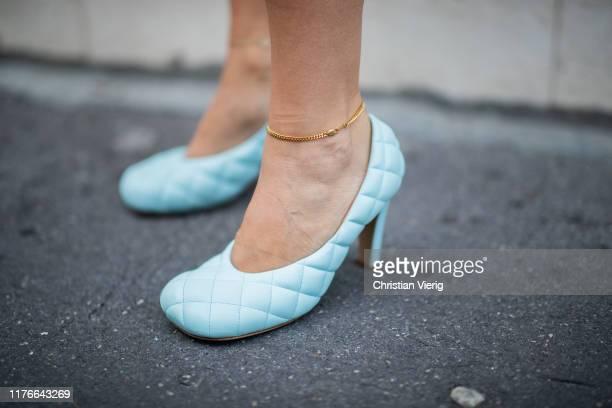 Erika Boldrin seen wearing blue turquois Bottega Veneta heels shoes outside the Missoni show during Milan Fashion Week Spring/Summer 2020 on...