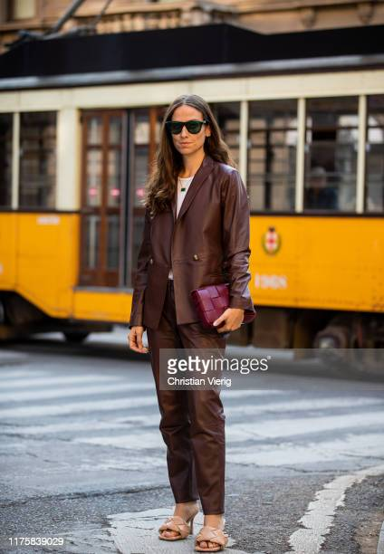 Erika Boldrin seen wearing brown leather blazer and pants bordeaux bag Bottega Veneta LIDO PS20 shoes outside the Vivetta show during Milan Fashion...