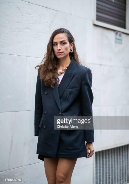 Erika Boldrin seen wearing navy blazer outside the Missoni show during Milan Fashion Week Spring/Summer 2020 on September 21, 2019 in Milan, Italy.