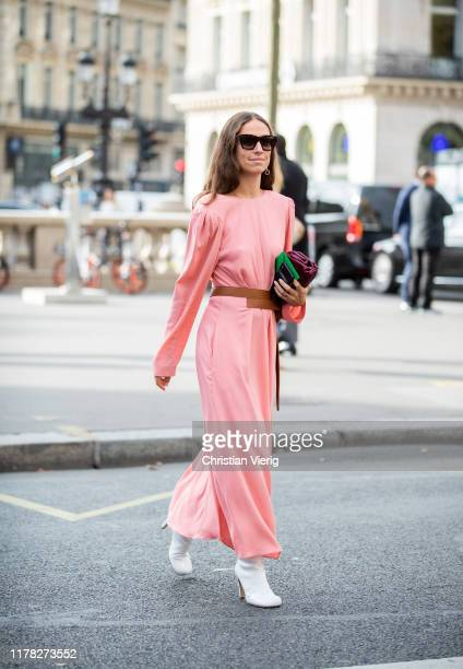 Erika Boldrin seen wearing pink dress with long sleeves outside Stella McCartney during Paris Fashion Week Womenswear Spring Summer 2020 on September...