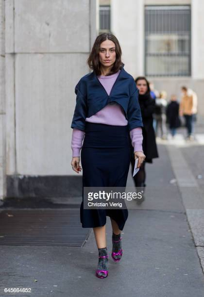 Erika Boldrin wearing a black skirt pink knit outside Salvatore Ferragamo during Milan Fashion Week Fall/Winter 2017/18 on February 26 2017 in Milan...