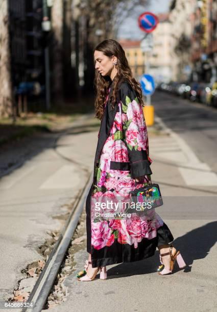 Erika Boldrin wearing a kimono with floral print outside Dolce Gabbana during Milan Fashion Week Fall/Winter 2017/18 on February 26 2017 in Milan...