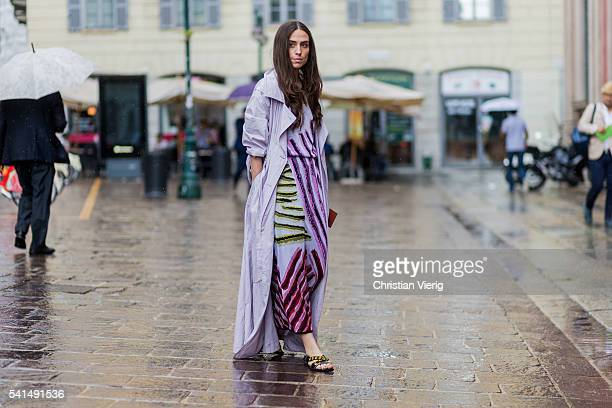 Erika Boldrin wearing a pink trench coat and Missoni dress outside Missoni during the Milan Men's Fashion Week Spring/Summer 2017 on June 19 2016 in...