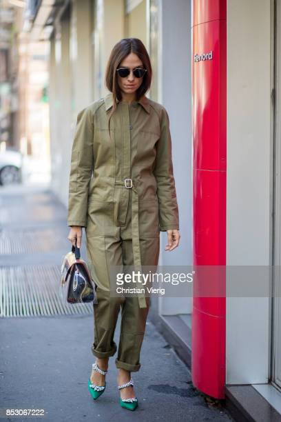 Erika Boldrin wearing an olive overall is seen outside Marni during Milan Fashion Week Spring/Summer 2018 on September 24 2017 in Milan Italy