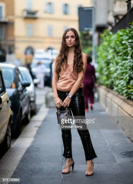 Erika Boldrin wearing black leather pants is seen outside Stella McCartney during Milan Men's Fashion Week Spring/Summer 2019 on June 18 2018 in...