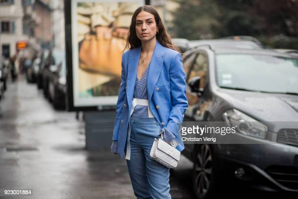 Erika Boldrin wearing blue blazer blue pants blue boots seen outside Max Mara during Milan Fashion Week Fall/Winter 2018/19 on February 22 2018 in...