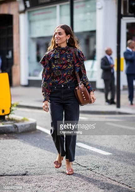 Erika Boldrin wearing dark blue denim jeans is seen outside JW Anderson during London Fashion Week September 2018 on September 15 2018 in London...