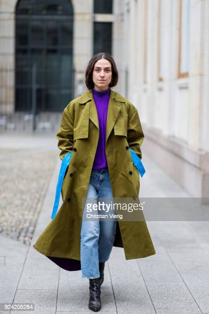Erika Boldrin wearing green purple trench coat is seen outside MSGM during Milan Fashion Week Fall/Winter 2018/19 on February 25 2018 in Milan Italy