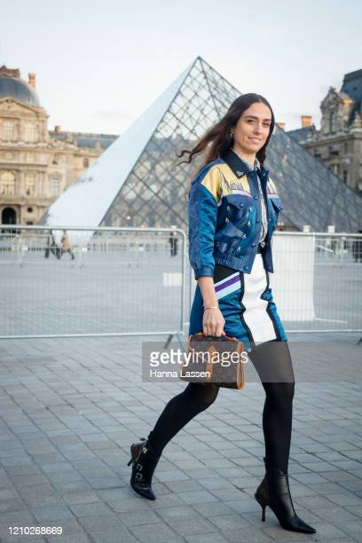Erika Boldrin wearing Louis Vuitton blue leather jacket, bag and pointy ankle boots outside the Louis Vuitton show during Paris Fashion Week...
