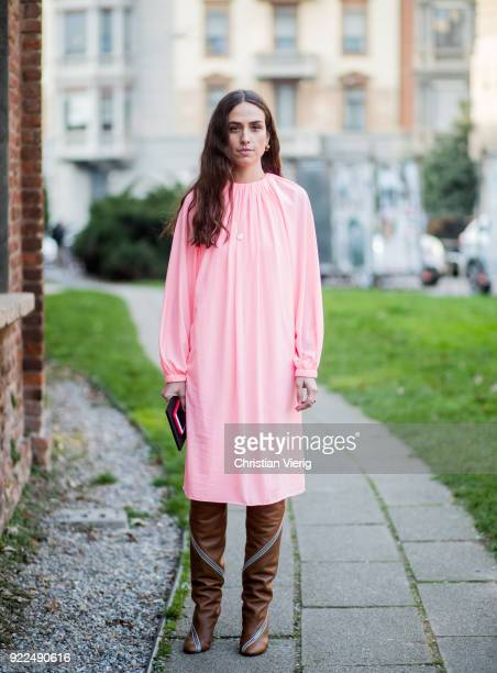 Erika Boldrin wearing pink dress brown boots seen outside Alberta Ferretti during Milan Fashion Week Fall/Winter 2018/19 on February 21 2018 in Milan...