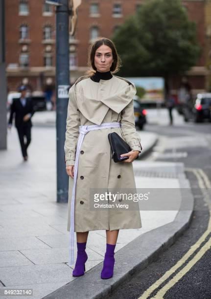 Erika Boldrin wearing trench coat outside Christopher Kane during London Fashion Week September 2017 on September 18 2017 in London England