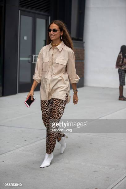 Erika Boldrin wears cheetah print pants during New York Fashion Week Spring/Summer 2019 on September 7 2018 in New York City