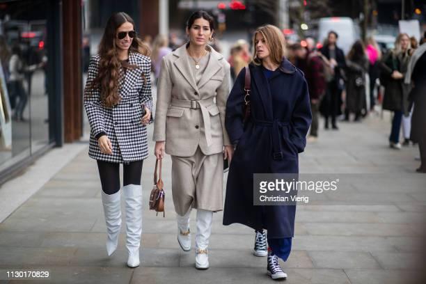 Erika Boldring Deborah Reyner Sebag and Monica de La Villardière seen outside ALEXACHUNG during London Fashion Week February 2019 on February 16 2019...