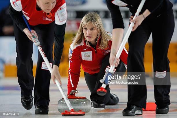 Erika Brown of USA throws a stone in the match between Russia and USA on Day 6 of the Titlis Glacier Mountain World Women's Curling Championship at...