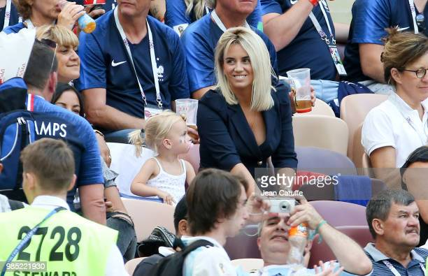 Erika Choperena Griezmann wife of Antoine Griezmann of France and their daughter Mia Griezmann during the 2018 FIFA World Cup Russia group C match...