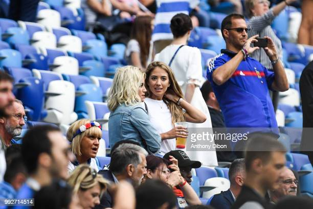 Erika Choperena wife of Antoine Griezmann and Sofia Herrera wife of Diego Godin of Uruguay during 2018 FIFA World Cup Quarter Final match between...