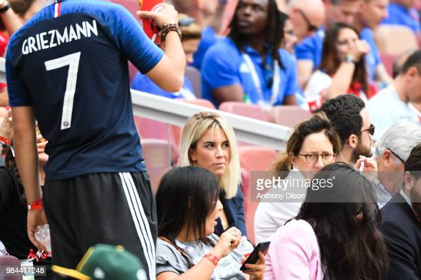 Erika Choperena wife of Antoine Griezmann during the FIFA World Cup Group C match between Denmark and France at Luzhniki Stadium on June 26 2018 in...