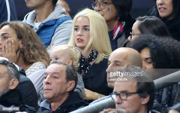 Erika Choperena wife of Antoine Griezmann of France and their daughter Mia Griezmann attend the FIFA 2018 World Cup Qualifier between France and...