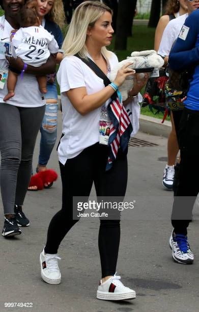 Erika Choperena wife of Antoine Griezmann of France arrives to attend the 2018 FIFA World Cup Russia Final match between France and Croatia at...
