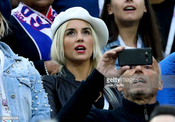 Erika Choperena wife of Antoine Griezmann of France during the 2018 FIFA World Cup Russia Semi Final match between France and Belgium at Saint...