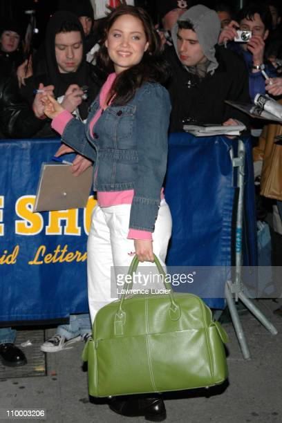 Erika Christensen during Sandra Bullock Gwen Stefani and Erika Christensen Appear Outside The Late Show with David Letterman March 21 2005 at Ed...