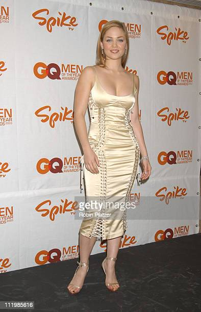 Erika Christensen in Dolce and Gabbana during Spike TV Presents 2003 GQ Men of the Year Awards Press Room at The Regent Wall Street in New York City...