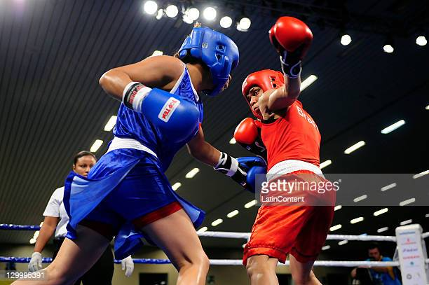 Erika Cruz of Mexico fights against Adriana Araujo of Brazil during the Woman's Light Welter 5760 kg in the 2011 XVI Pan American Games at the Arena...