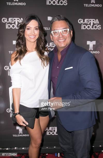 "Erika Csiszer and Daniel Sarcos attend the Telemundo Premiere Of ""Guerra De Idolos""at The Temple House on April 20, 2017 in Miami Beach, Florida."