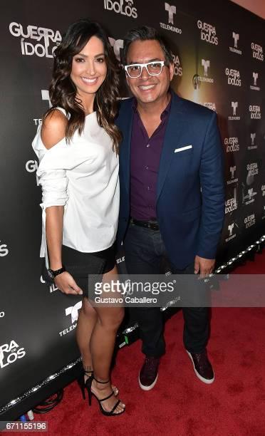 "Erika Csiszer and Daniel Sarcos attends the Telemundo Premiere Of ""Guerra De Idolos"" at The Temple House on April 20, 2017 in Miami Beach, Florida."