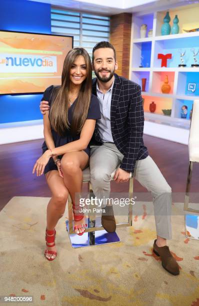 Erika Csiszer and Francisco Caceres are seen on set at Telemundo's Un Nuevo Dia on April 18 2018 in Miami Florida