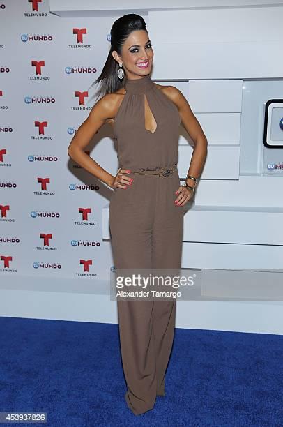 Erika Csiszer poses backstage at Telemundo's Premios Tu Mundo Awards 2014 at American Airlines Arena on August 21, 2014 in Miami, Florida.