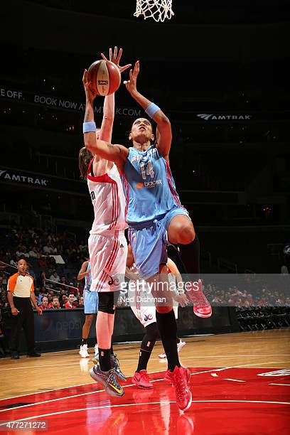 Erika de Souza of the Atlanta Dream goes to the basket against the Washington Mystics in a WNBA game at the Verizon Center on June 12 2015 in...