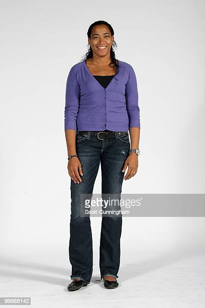Erika de Souza of the Atlanta Dream poses for a portrait on 2010 WNBA Media Day on May 13 2010 at Philips Arena in Atlanta Georgia NOTE TO USER User...