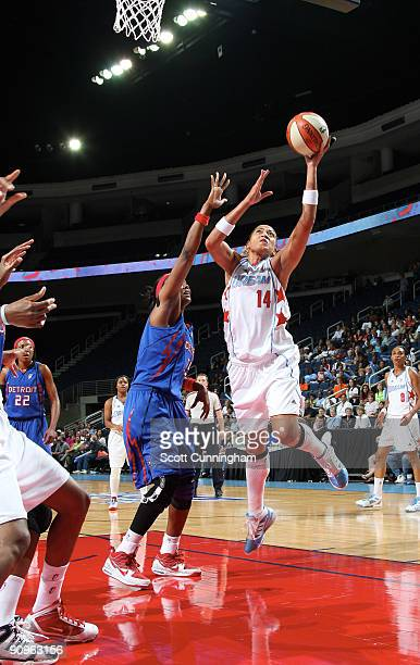 Erika de Souza of the Atlanta Dream puts up a shot during Game Two of the WNBA Eastern Conference Semifinals against the Detroit Shock at Gwinnett...