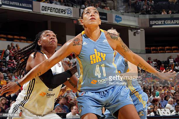 Erika de Souza of the Chicago Sky boxes out and waits for a rebound against the Indiana Fever in Game Two of the WNBA Eastern Conference Semifinals...