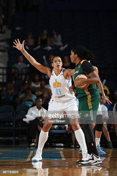 Erika de Souza of the Chicago Sky gaurds the Seattle Storm on September 6 2015 at Allstate Arena in Rosemont Illinois NOTE TO USER User expressly...