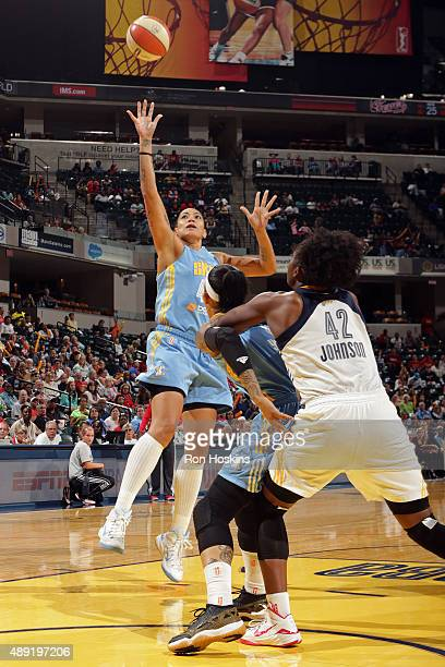 Erika de Souza of the Chicago Sky shoots the ball against the Indiana Fever in Game Two of the WNBA Eastern Conference Semifinals at Bankers Life...