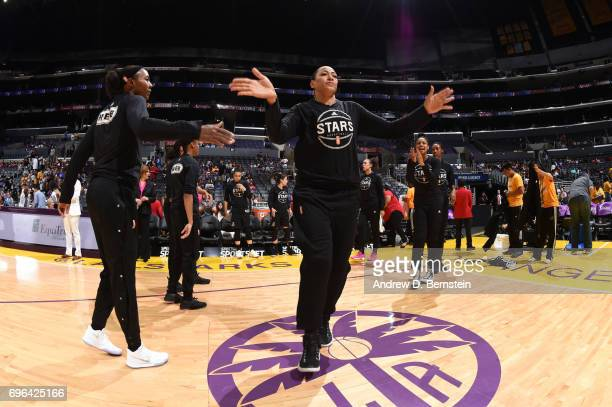 Erika de Souza of the San Antonio Stars is introduced before a game against the Los Angeles Sparks on June 15 2017 at STAPLES Center in Los Angeles...