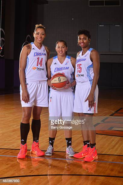 Erika de Souza Shoni Schimmel and Angel McCoughtry of the Atlanta Dream poses for a portrait prior to the 2014 Boost Mobile WNBA AllStar Game on July...