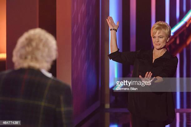 Erika Eleniak attends the taping of 'Back To School Gottschalks grosses Klassentreffen' Show on January 23 2014 in Berlin Germany