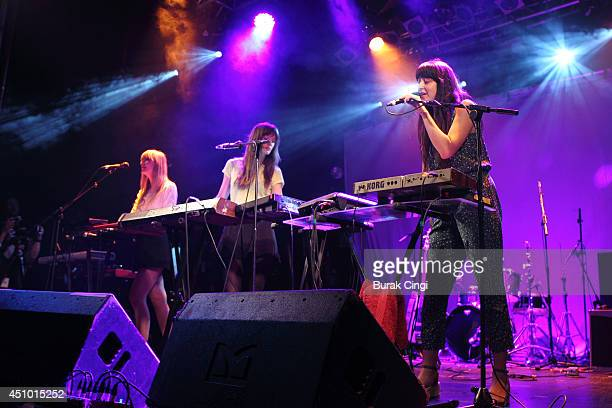 Erika Forster Annie Hart and Heather D'Angelo of Au Revoir Simone perform on stage at Electric Ballroom for Camden Crawl's CC14 on June 21 2014 in...