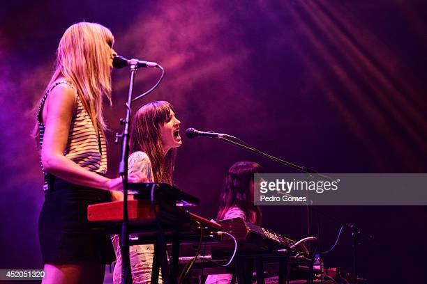 Erika Forster Annie Hart and Heather d'Angelo of Au Revoir Simone performs on stage at Optimus Alive music festival at on July 11 2014 in Lisbon...