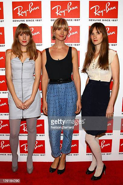 Erika Forster Annie Hart and Heather D'Angelo of Au Revoir Simone attend the RayBan Raw Sounds project at The Angel Orensanz Foundation on October 13...