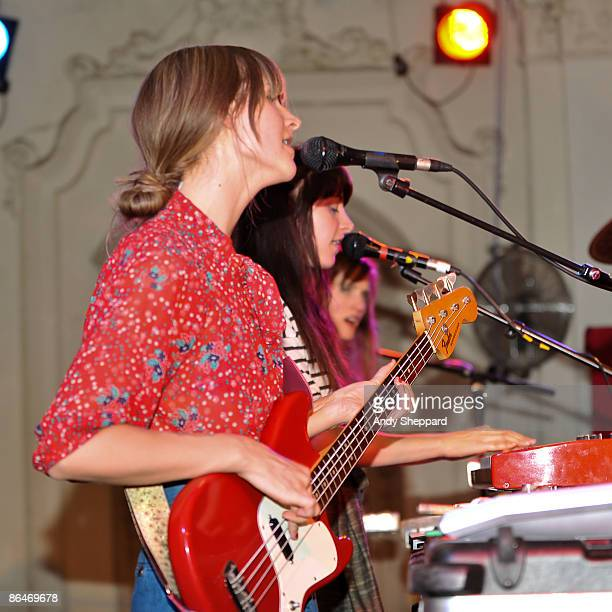 Erika Forster Heather D'Angelo and Annie Hart of Au Revoir Simone perform on stage at Bush Hall on May 6 2009 in London England
