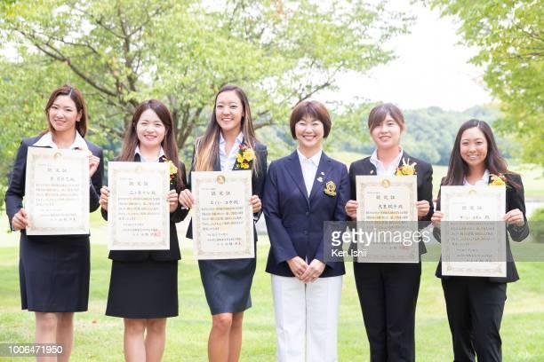 Erika Hara Kana Mikashima and Eimi Koga of Japan the chairman of LPGA Japan Hiromi Kobayashi Momoko Osato of Japan and Kcie Komoto of USA pose for a...
