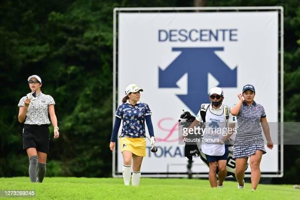 Erika Hara Minami Katsu and Ai Suzuki of Japan walk on the 18th hole during the first round of the Descente Ladies Tokai Classic at the Shin Minami...